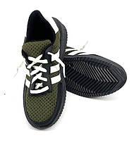 """Кросівки чоловічі на шнурка """"Хакі - чорні"""""""