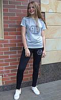 Женский спортивный костюм арт. V2 с футболкой размер 44-54 серый / серого цвета