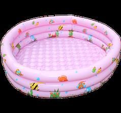 Бассейн надувной детский Водный мир 168*46 с надувным дном и сливным клапаном