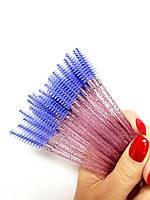 Щеточки для ресниц и бровей блестящая нейлоновая, цвет ворса голубой, 50 шт в упаковке, фото 1