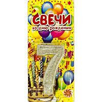 """Свеча цифра на торт """" 7 """" с блестками, серебро"""