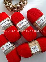 Полушерстяная пряжа Мерино спорт красного цвета YARNART MERINO SPORT 50% шерсть / 50% акрил