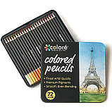 Набор цветных карандашей 72 цвета в металлическом пенале на 3 слота., фото 9