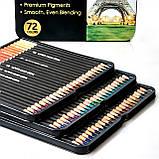 Набор цветных карандашей 72 цвета в металлическом пенале на 3 слота., фото 10