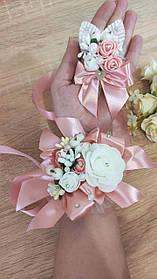 Весільна бутоньєрка і браслет Bouquet. Колір пудровий.