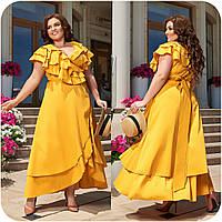 Летнее красивое платье на запах из натурального коттона, р.48-50,52-54,56-58,60-62,64-66 код 3353Ф