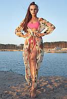 Женская длинная туника-парео с цветочным принтом (1603.4203-4194-4185 svt) Кофейный (капучино)