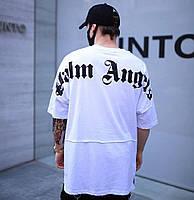 Мужская футболка модная летняя молодежная с принтом Palm Angels белая Турция. Живое фото. Топ качество