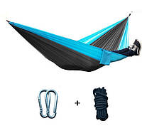 Туристический гамак Travel hammock 265х140 см Серо-Голубой (0681)