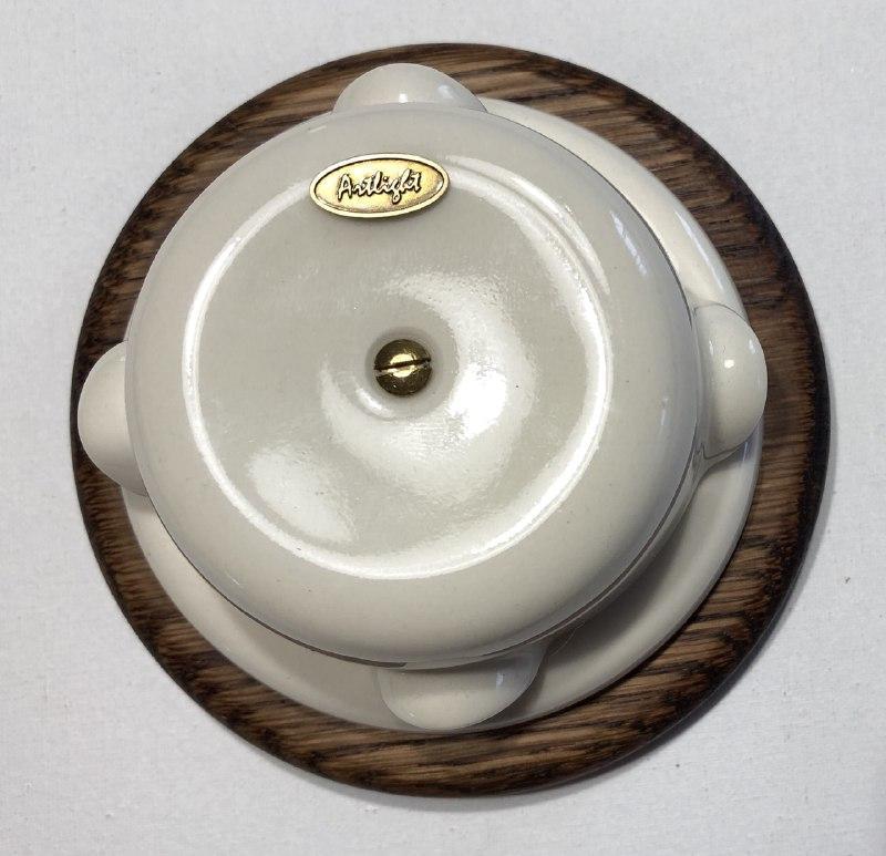 Ретро распределительная коробка фарфоровая (86х50) Artlight, белая, фурнитура бронза, никель