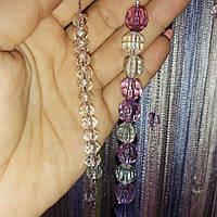 Шторы нити  радуга с комбинированными алмазными бусинами