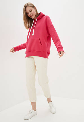 Худі жіночий оверсайз теплий 01, колір малиновий, фото 2