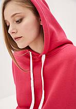 Худі жіночий оверсайз теплий 01, колір малиновий, фото 3
