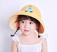 """Детская панамка с открытой макушкой для девочки """"Картошка"""" Желтая (2-5 лет)"""