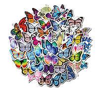 Набор водоотталкивающих стикеров (наклеек) , виниловые наклейки. Набор №28 Бабочки  50 шт