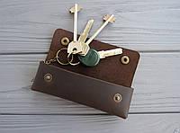 Кожаная ключница на кнопках_ключница для длинных ключей_шоколад
