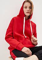 Худи женский оверсайз тёплый 01, цвет красный