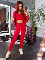Модный женский спортивный костюм тройка куртка топ и джоггеры арт 554