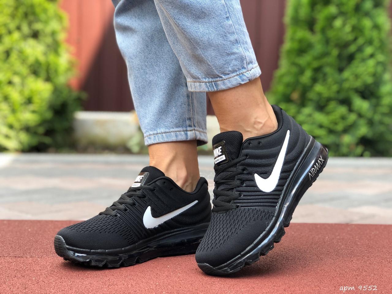 Жіночі літні кросівки сітка Nike Air чорні з білим