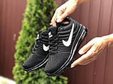 Жіночі літні кросівки сітка Nike Air чорні з білим, фото 3