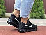 Жіночі літні кросівки сітка Nike Air чорні з білим, фото 4
