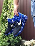 Мужские  кроссовки сетка Nike Air черные с синим, фото 2