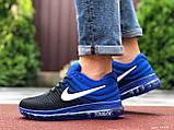 Мужские  кроссовки сетка Nike Air черные с синим, фото 4