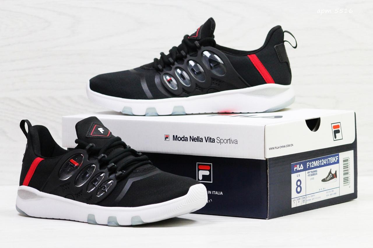 Мужские и женские  летние кроссовки Fila черные с красным