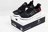 Мужские и женские  летние кроссовки Fila черные с красным, фото 5