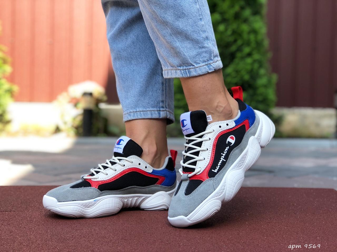 Жіночі кросівки Champion сірі з білим, червоні