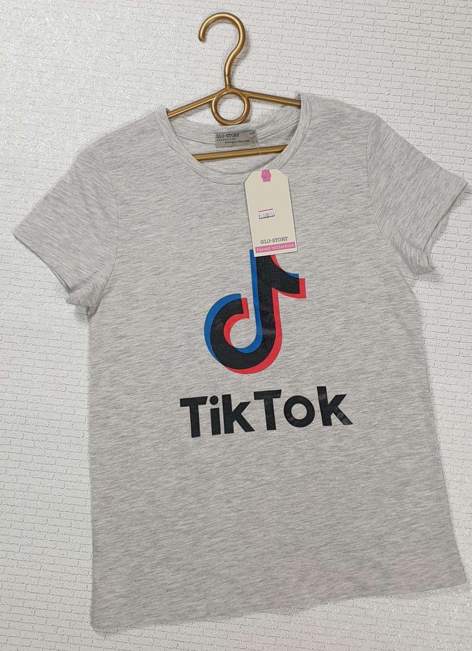 Футболка серая Tik Tok  для мальчика  на рост 140, 152, 158,164 152