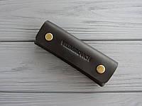 Чехол для ключей из винтажной кожи_черная кожаная ключница на длинные ключи