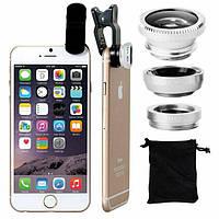 Universal clip lens Kit 3 in 1 ,набор линз,объективов для телефона ,смартфона Стальной