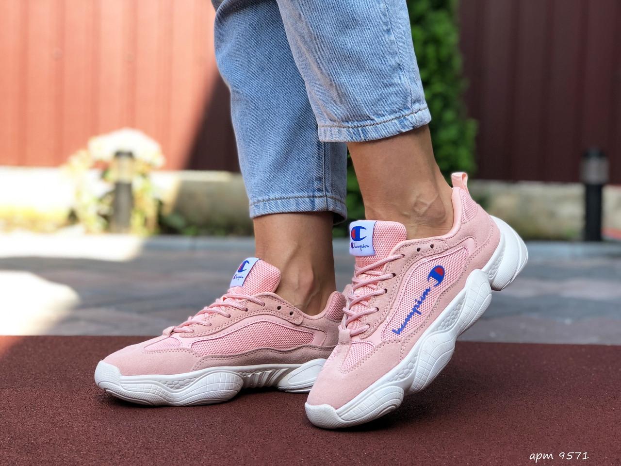 Жіночі кросівки Champion рожеві з білим