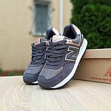 Жіночі кросівки Nеw Balance 574 Темно сірі з золотом, фото 2