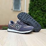 Жіночі кросівки Nеw Balance 574 Темно сірі з золотом, фото 5