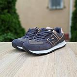 Жіночі кросівки Nеw Balance 574 Темно сірі з золотом, фото 6