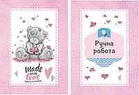 Бирка декоративная розовая Тедди, размер 4,5 см на 6,5 см