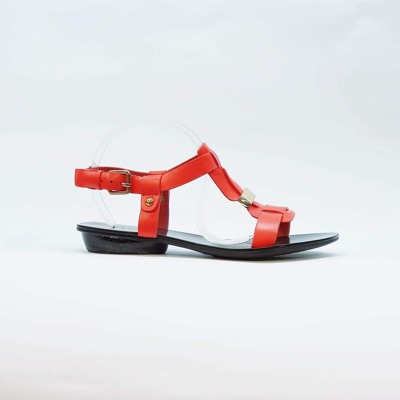 Босоножки женские из натуральной кожи на низком каблуке красные 36