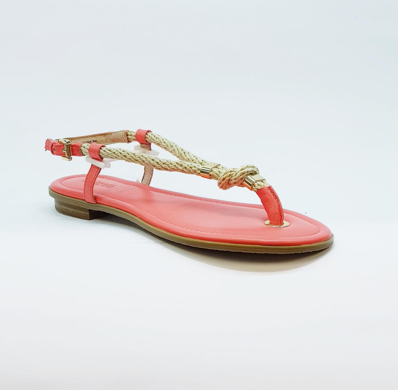 Сандали женские текстильные через палец на плоской подошве розовые