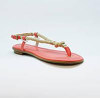 Сандали женские текстильные через палец на плоской подошве розовые, фото 1