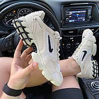 Мужские кроссовки Nike x Stussy Air Zoom Spiridon Cage 2 (бежевые) C-1918