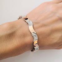 Серебряный женский браслет с золотом Волна, фото 1