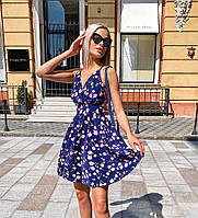 Легкое летнее короткое платье открытая спина принт цветы