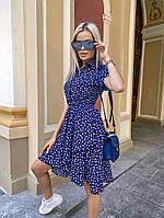 Женское летнее платье принт с воротник юбка свободная
