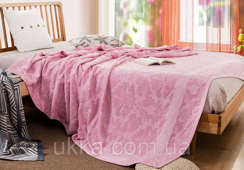 Простынь махровая покрывало 180х220см розовая