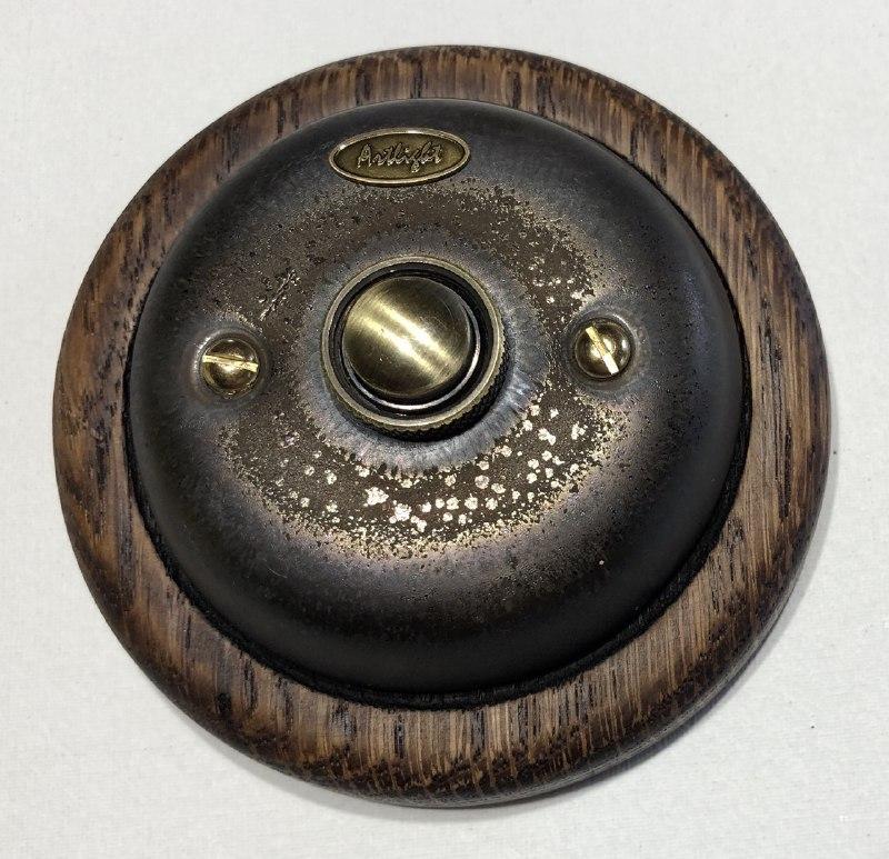 Ретро кнопка дзвінка порцеляновий Artlight, Бронза, фурнітура бронза, хром (вартість рамки не врахована)