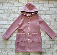 Детский кардиган однотонный для девочки с капюшоном 7-9 лет, розового цвета