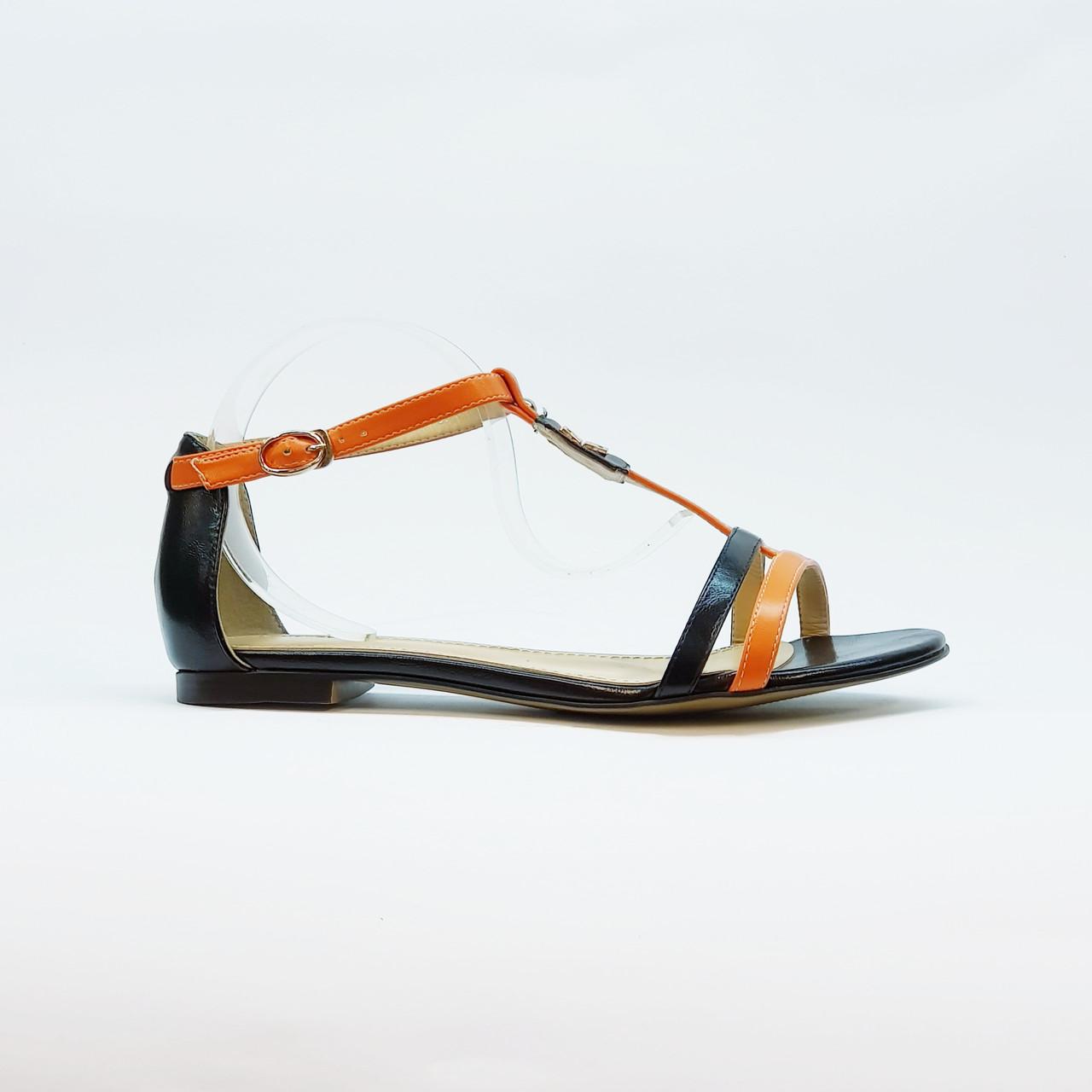 Босоножки женские искусственная кожа низкий каблук оранжевые