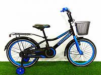Детский двухколесный велосипед для мальчика 4 5 6 7 лет Crosser  синий  2+2 дополнительные колеса 16 дюймов